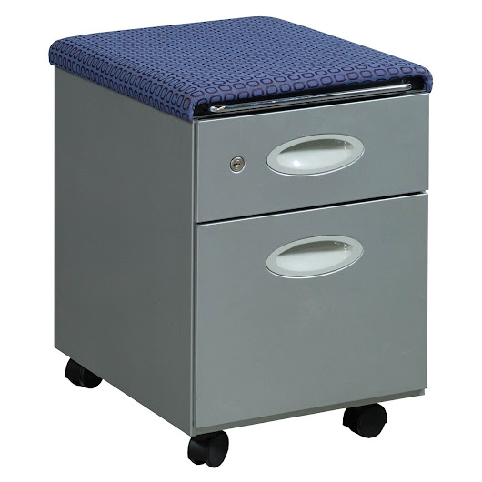 Steelcase Used Mobile Gray Box File Pedestal, Purple Top