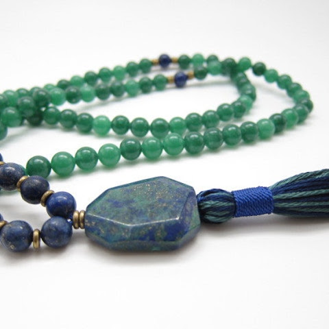 Hand-Knotted Green Aventurine & Lapis Lazuli by LoveandMojo