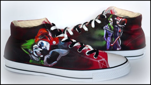 Custom Mens Shoes Painted Shoes Harley Quinn & Joker by PricklyPaw