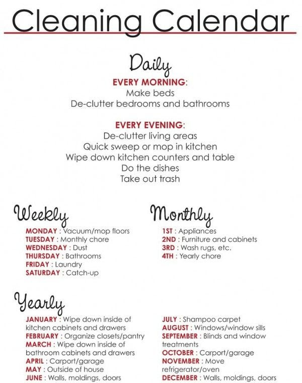 List of daily, weekly, monthly, and yearly chores to do. :)   TIPS ...