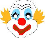 Circus clown mask, free printable halloween mask