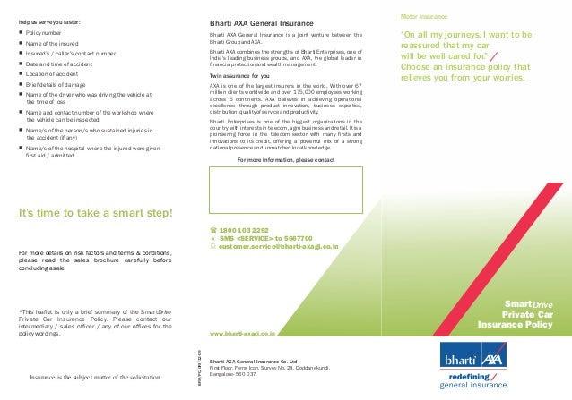 Bharti AXA Car Insurance Policy Brochure
