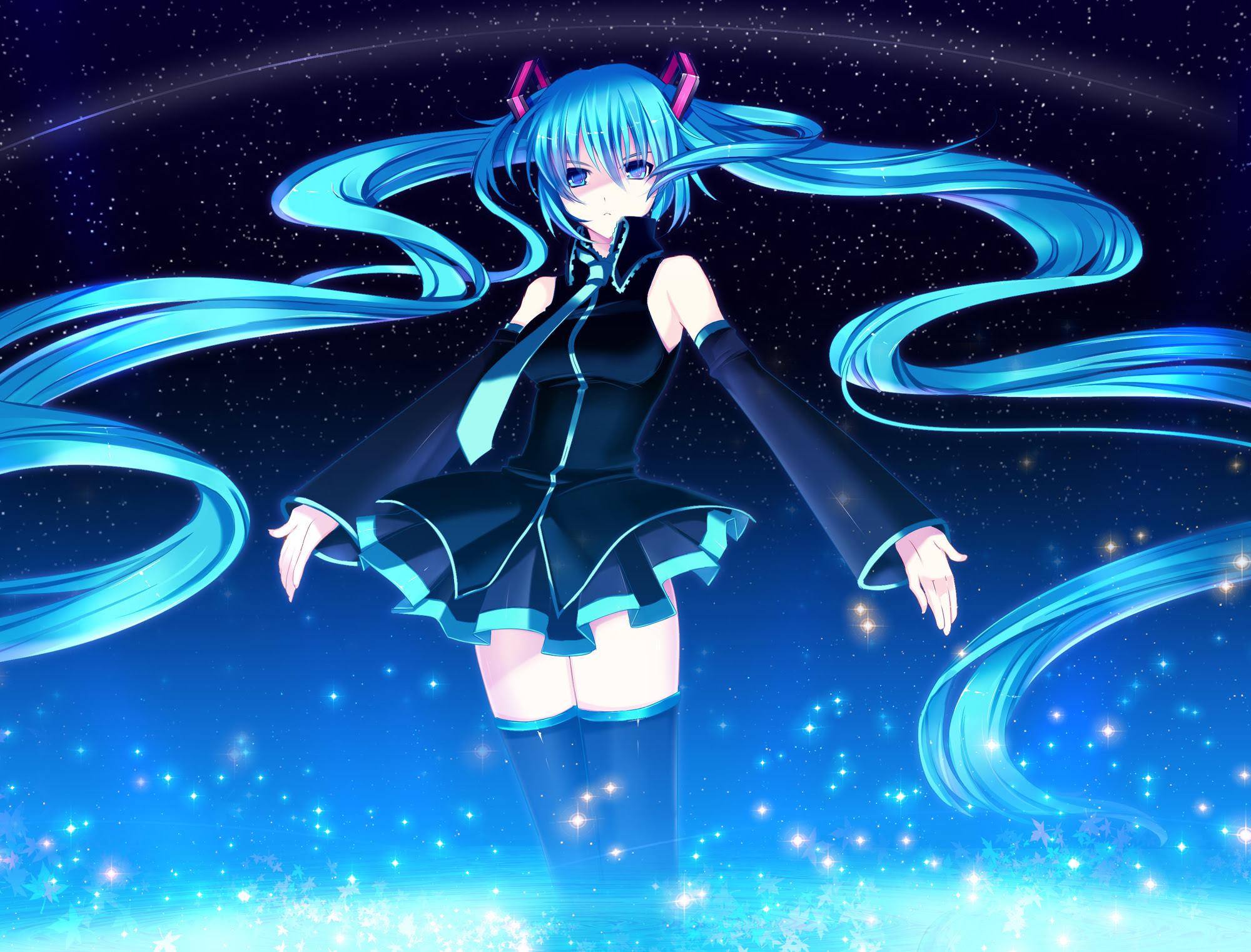 Anime - Vocaloid  - Hatsune Miku - Sky - Night - Stars - Twintails - Aqua Hair - Aqua Eyes - Skirt - Tie - Dress Papel de Parede