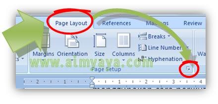 Gambar:  Cara menampilkan dialog page setup di microsoft word
