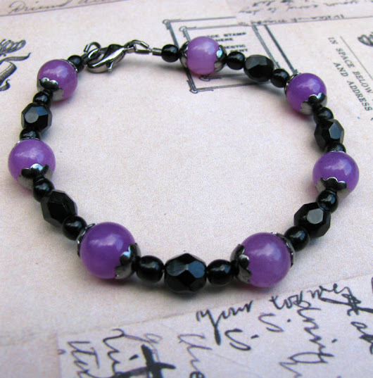 Purple Candy Jade Bracelet, Black and Purple Jewelry