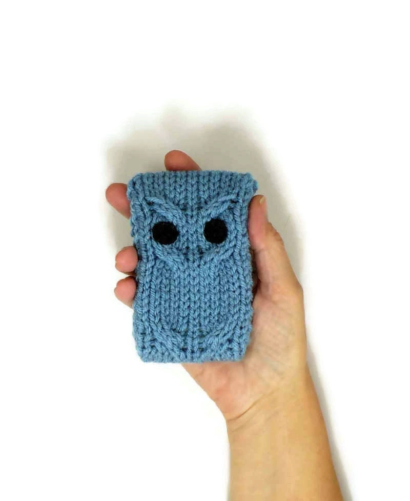 iPhone 4 iPhone 5 case iPod Touch Cover Android Phone Case Blackberry Case Knit Owl Droid Case Smartphone Cover Cafe Blue Knit Phone Case - Nothingbutstring