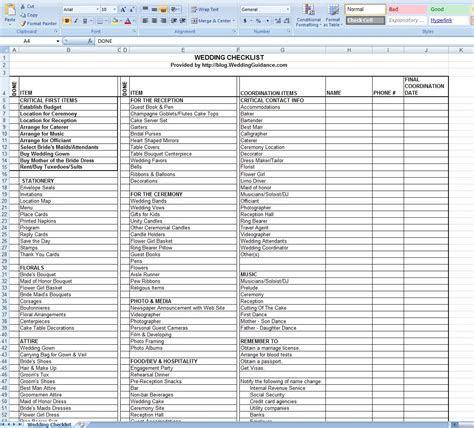 Wedding Checklist Free Excel Template   Eventually