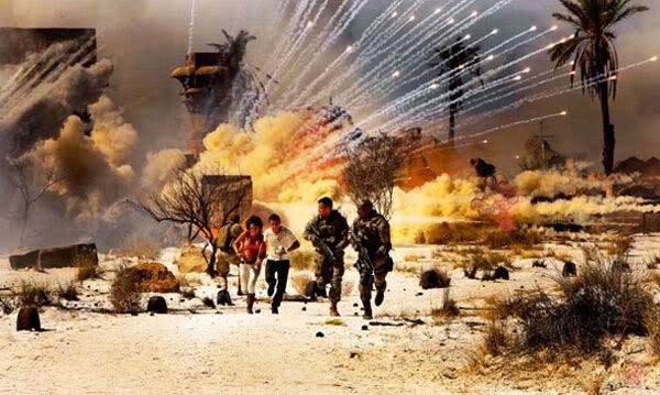 Sam, Mikaela, Captain Lennox (Josh Duhamel) and Sergeant Epps (Tyrese Gibson) run for cover.