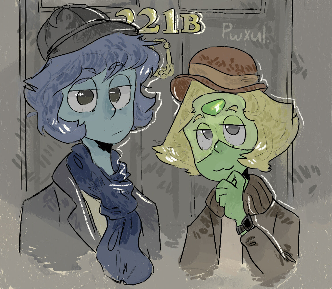 @bigwolfchef requested Lapis and Peridot as Sherlock and John! :^)