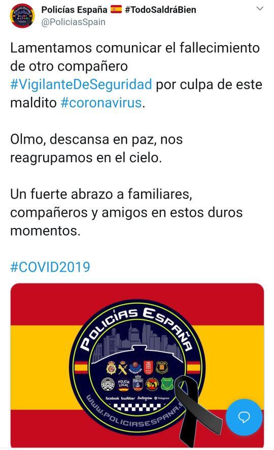 Otro vigilante que fallece por coronavirus