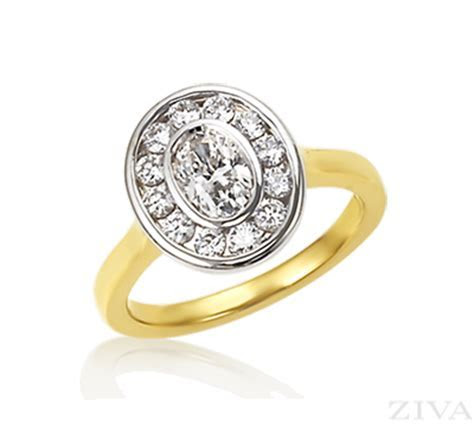 Bezel Set Oval Engagement Ring with Halo & Yellow Gold Band