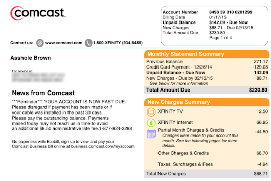 "Comcast bill changes customer's first name to ""A—hole"""