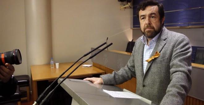 El secretario general del Grupo Parlamentario Ciudadanos (GPC's) en el Congreso de los Diputados, Miguel Gutiérrez, en una comparecencia de prensa, minutos después de que Iglesias presentara el documento con su programa de Gobierno. EFE