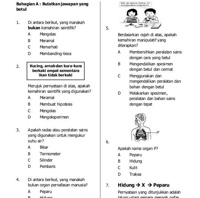 Soalan Sains Tahun 5 Kemahiran Saintifik Terengganu T