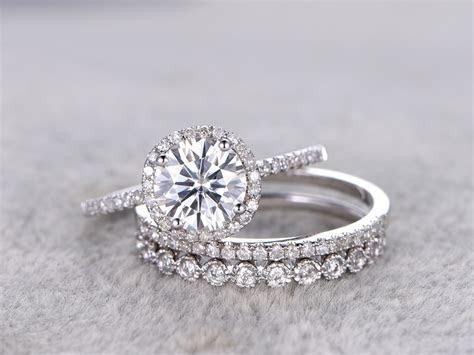 3pcs Moissanite Wedding Ring Set Diamond Matching Band