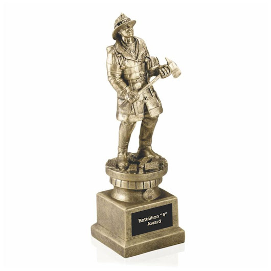Antique Gold Modern Firefighter Tribute Statue
