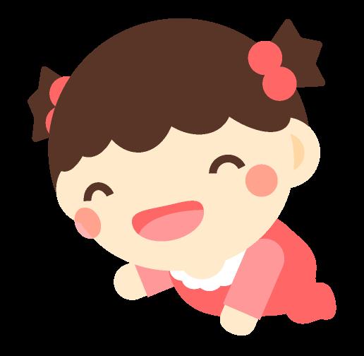 笑いながらハイハイしている赤ちゃんイラスト女の子かわいいフリー