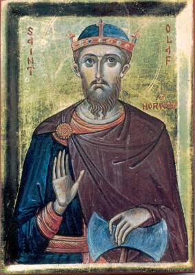 icone Orthodoxe de saint Olaf 1er Trygvason, premier roi Chretien de Norvege