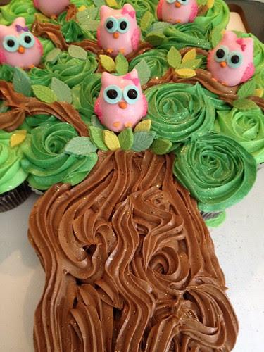 Cupcake cake with owl cakepops