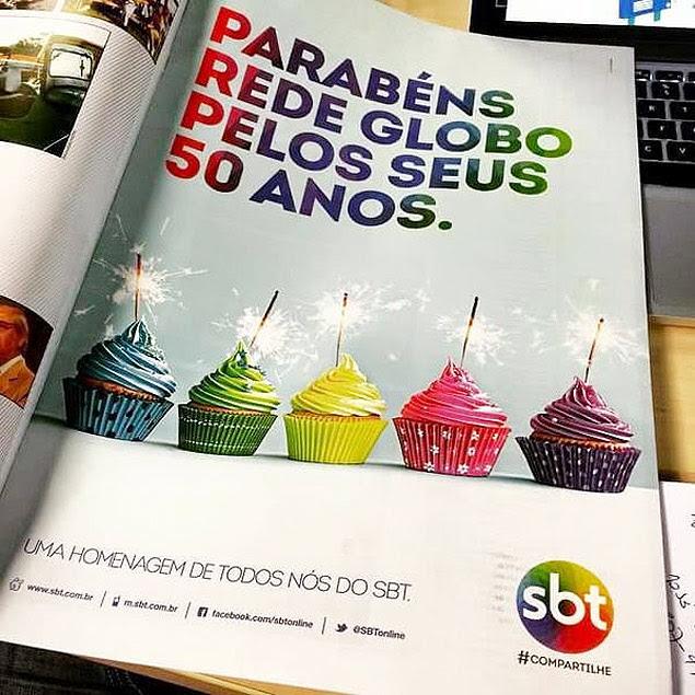 SBT cria anúncio para homenagear os 50 anos da Globo