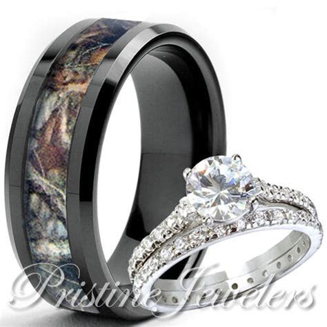 Her Sterling Silver Ring His Black Titanium Mossy Tree