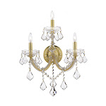 Lighting by Pecaso Maria Theresa Wall Sconce, 3 Lights, Gold 1325352