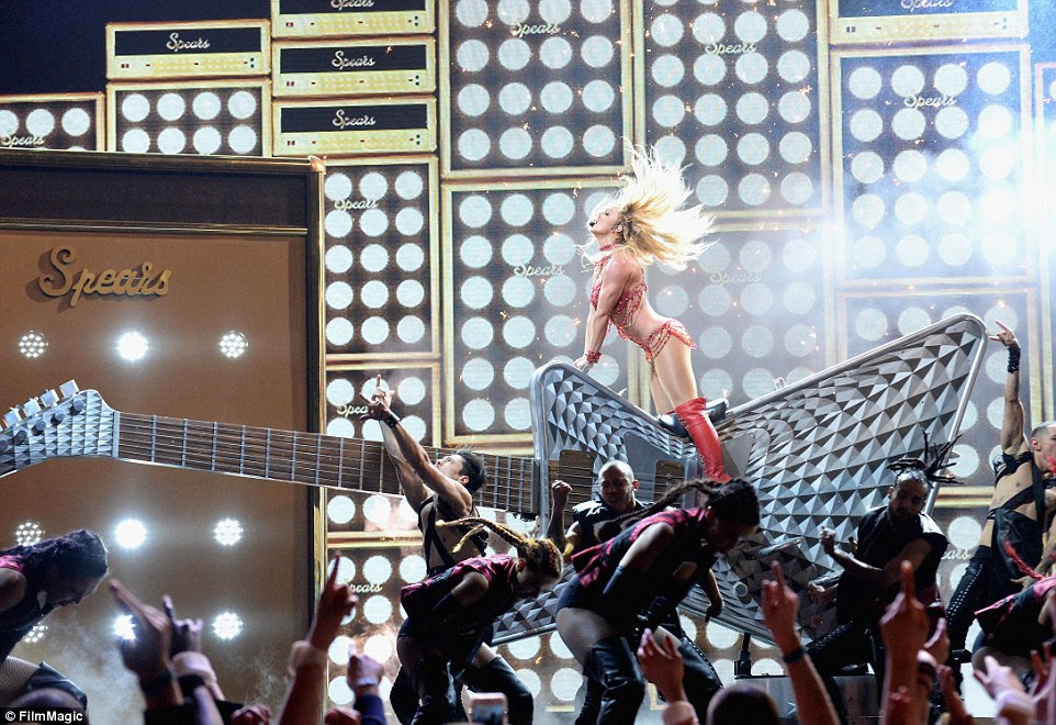 Rocking out: Britney was not done there, taking fans way back to her Crossroads days, performing a cover of the song made famous by Joan Jett, I Love Rock 'n' Roll