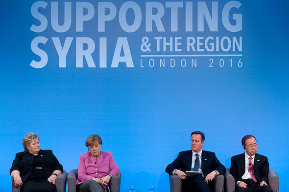 Norwegian Prime Minister Erna Solberg, German Chancellor Angela Merkel, British Prime Minister David Cameron, UN Secretary-General Ban Ki-moon