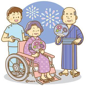 クリップアート納涼夏祭り老人ホームのイメージイラスト 子供と