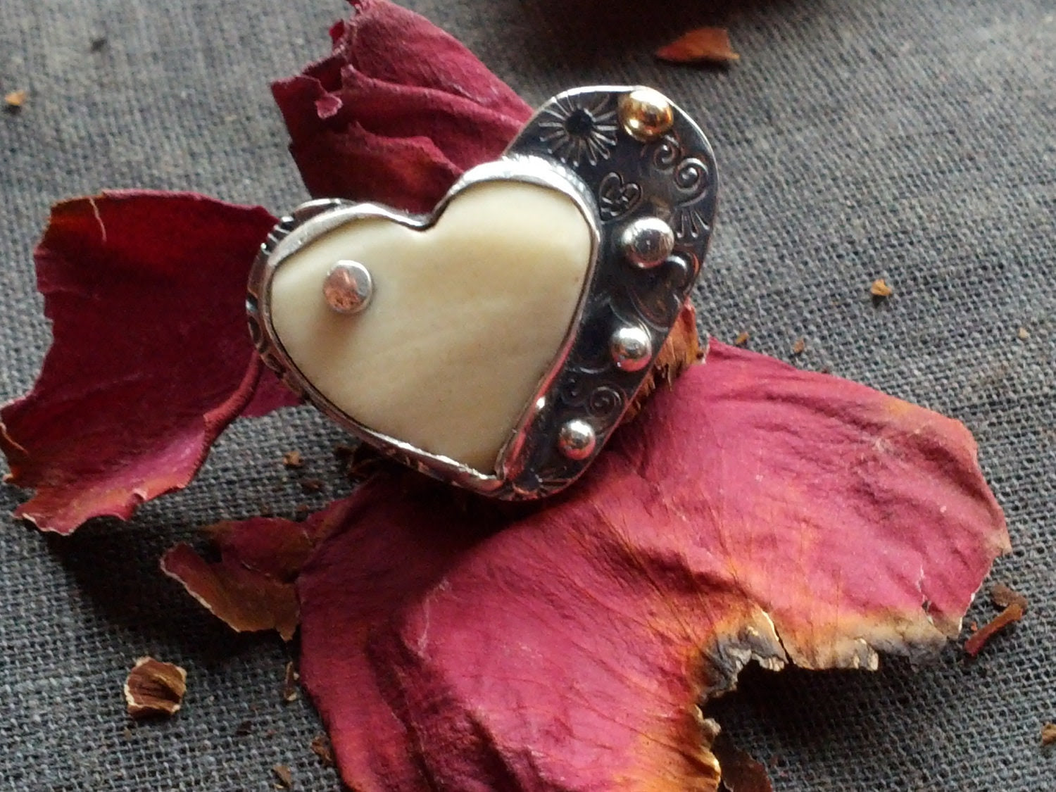 Silver  & 14k Gold  Ring - Two Hearts Better than One