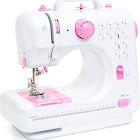 Best Choice Products 6V Compact Sewing Crafting Machine, White,Pink