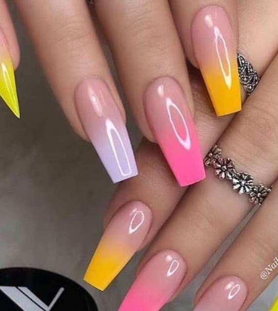 Summer Coffin Bright Medium Length Bright Coffin Summer Acrylic Nails Nail And Manicure Trends