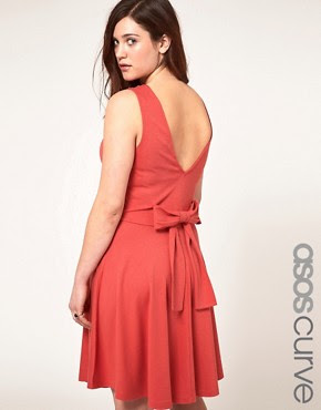 Image 1 ofASOS CURVE Exclusive Skater Dress with Bow Back