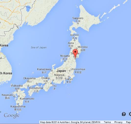 Sendai on Map of Japan