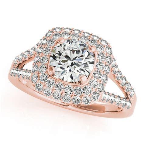 Split Shank Square Halo Diamond Engagement Ring 14k Rose