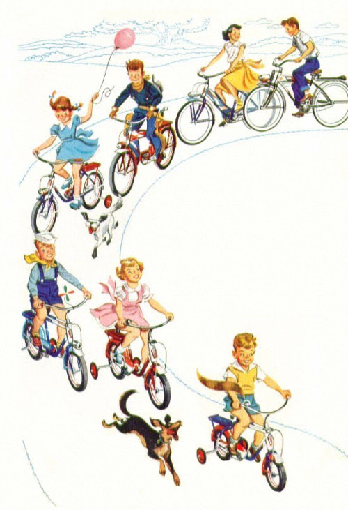 Kids on Bikes - detail from 1955 Murray Bikes ad.