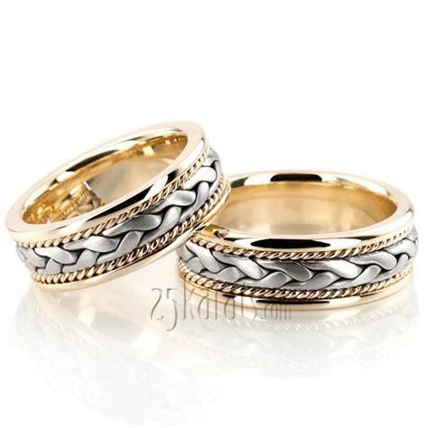 HH HM003 14K Gold Braided Elegant Hand Woven Wedding Band Set