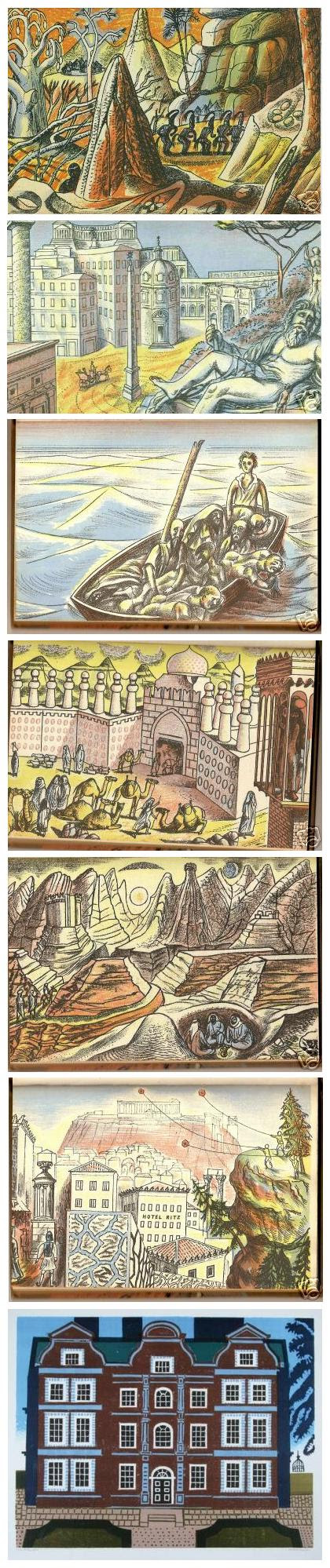 Edward Bawden compilation - Jerusalem Gate Camels + Pilgrims Ass, Don Juan Ship, Kew Palace (2 uknown)