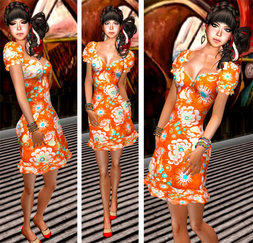 NEW! SHIKI-Floral Dress CREAMSICLE