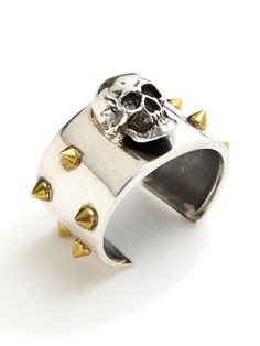 Gold Spike  Silver Skull Cuff by Tom Binns