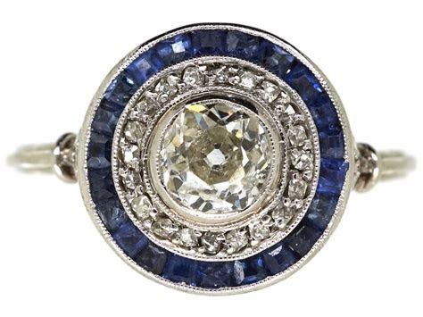 Art Deco Sapphire & Diamond Target Ring   The Antique