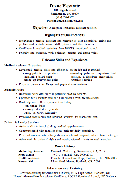 Medical Assistant Resume 2016  SampleBusinessResume.com : SampleBusinessResume.com