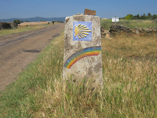 Walking direction sign between Astorga and Ponferrada on the Camino Francés in northwest Spain.