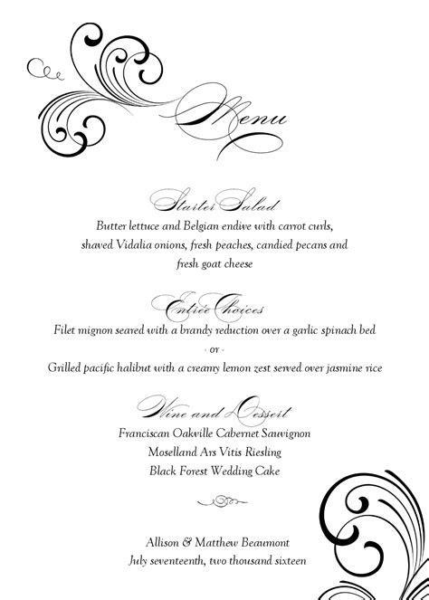 Black Swirl Wedding Menu