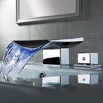 Color Changing Led Waterfall Widespread Bathroom Sink Faucet Chrome