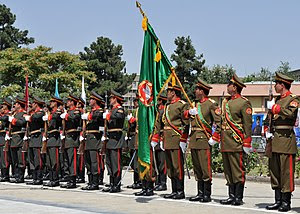 Honor guard of the Afghan National Army during...