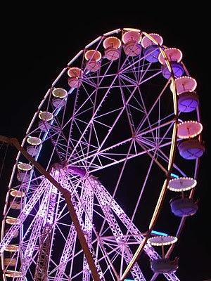 A Ferris wheel at night.