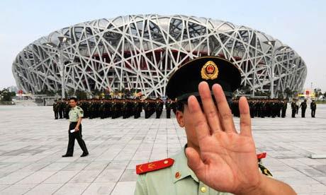 Chinese policeman outside the Olympic Stadium