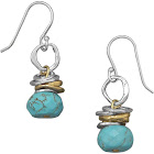 Sterling Silver and Brass Ring Reconstituted Turquoise Bead Earrings