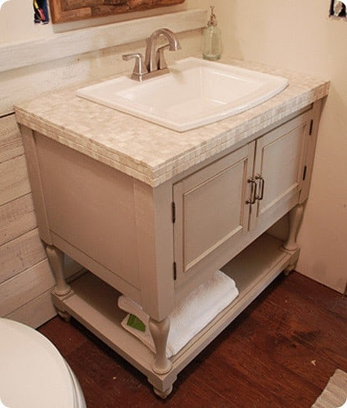 Tile Bathroom Vanity with Cabinet